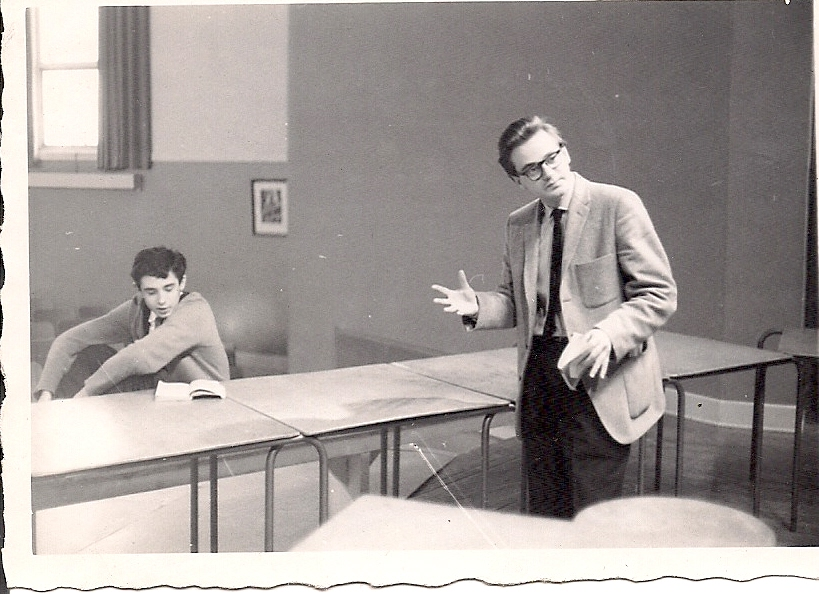 David Kellett in RHS Drama Club 1962 with Mr. Metcalfe
